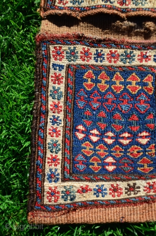 "Antique Shahsavan sumac mini khorjin. 1'7"" X 9"" All natural dyes. Wool. Excellent condition."
