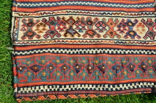 "Qashqai rakkat. 44"" X 22"". Early 20th C. Wool. Beautiful natural dyes. Excellent condition. Rare piece (See PJR Ford article in ORR...most rakkats are Afshari)."