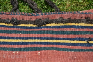 "Afshar flat woven rakkat (large storage bag) 52-1/2"" x 31-1/2"". Early 20th c. Patinated natural dyes. Weft substitution faces in wool; partly striped plain woven back. Minor signs of tribal use. Original  ..."