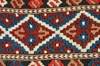 "Manastir kilim yastik. 3'2"" X 1'11-1/2"". Circa 1900. Wool with white cotton design elements. Natural colors. Excellent condition."