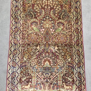 Exceptionally fine antique Ravar (Lavar) Kerman rug measuring approximately 2-11 × 4-8 in great condition (perfect size for hanging).
