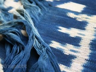 Sumba   indigo ikat men's headcloth   Indonesia  East Sumba, Kanatang, 2nd half of 20th century  Commercial cotton, natural indigo dye, warp ikat  A headcloth (tiara) woven with large white ikat figures on an indigo  ...