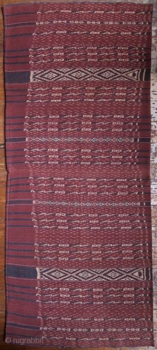Indonesia | Early 20th C Bridewealth Ikat Tubeskirt (Kewatek Méan)  East Flores, Ili Mandiri, Bama, Lamaholot people, 1920 – 1940  Handspun cotton, natural morinda and indigo dyes, warp ikat  Woven in handspun cotton with fine  ...
