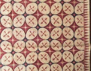 Javanese batik hipcloth (Kain Lepas)  Origin: Java, Banyumas, 1930 - 1950  Technique: Commercial cotton, natural dyes, hand-drawn (tulis) batik   Description: The design has the unstudied grace of one of the oldest batik patterns called  ...