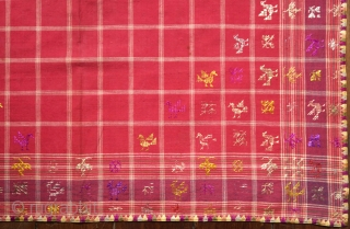c. 1900 Sumatran Embroidered Ceremonial Food or Sireh Cover (Tutuik)  Sumatra, Minangkabau, Padang  Handspun cotton (base), plied silk thread (embroidery), natural (mengkudu) dye, plain weaving, satin stitch embroidery, drawnwork  An exquisite square textile made by  ...