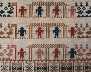 Lombok | Early 20th C ritual textile (pesujutan)    Indonesia, Lombok island, Sasak people, 1900 – 1925   Handspun brown cotton, botanical dyes, continuous and discontinuous supplementary weft weaving   A rare ritual cloth  ...