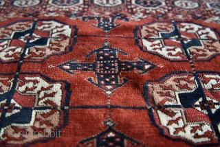 Turkmen Tekke wedding rug. Size: 141cm x 120/ 4′ 7.51″ x 3′ 11.24″