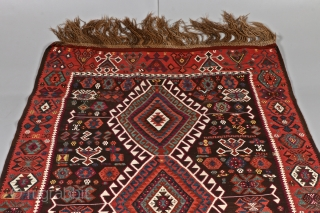 """East Anatolian Kars Kagizman kilim. Probably early 1900's. In perfect condition. All natural colors. 420 x 144cm/ 13'9.35"""" x 4'8.69"""""""