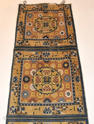 Late 19th century Ningxia Chinese meditation mat. As found. Worn fringes and ends. 197cm x 59cm/ 77x23 inches.