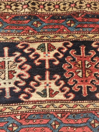 """Pile mafrash panel with a Shahsevan design and a Serapi weave. It measures 4'1""""x1'6"""""""