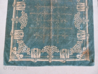 Jugendstil textile, 3 x 4.1 Ft, Good condition. small spot 1 corner