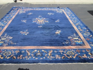 Antique Peking Chinese Rug.  Circa 1920.  Size 10'x12'.  Condition full Pile.