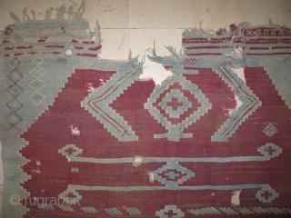 3971 Gherdes kilim blue color cotton red wool size 180x135