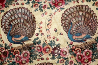 Manchester Print Pichwai Of Peacock From Manchester England made for Indian Market.C.1900. The dance of the Peacock depicts that its starting of the Monsoon season and they are welcoming it with joy.  ...