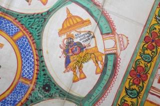 Jain Cosmic Diagram Depicting Tirthankara Yantra with Mahavira From Gujarat India.Circa 1900.Its size is 68cm X 68cm.(DSL03520).