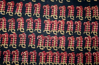 Early Indigo Black,Block Print Yardage Cotton,Natural Dyes From Balotra Rajasthan India.C.1930.Its size is W-86cm X L-342cm.(DSL03510).