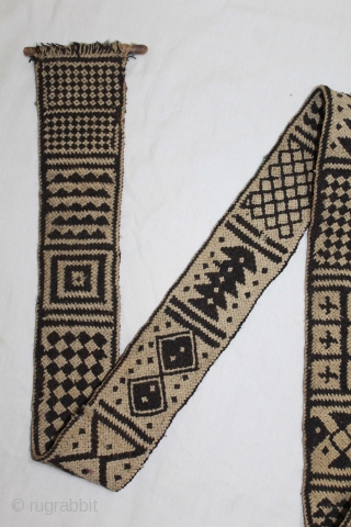 Rare Figurative Tung The Camel Decoration Belt from Rajasthan India.C.1900.Goat-Hair Belt made using the Ply-Split method.Its size is W-8cm x L-275cm.(DSL03580).