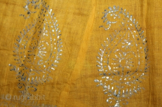 Mull-Mull cotton Ghaghra (Skirt) Silver Paste from Rajasthan India Circa.1900.Used mainly by Rajput family of Rajasthan.Its size is L-88cm X Around is 592cm.(DSL02850).