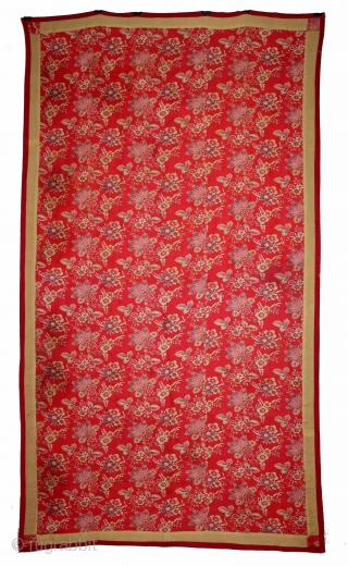 Manchester Roller Print From Manchester England made for Indian Market.Circa 1900.Roller Printed on Cotton.Rare Design.Used as for private shrines as Divalgiri.Its size is W-105cm x L-190cm.(DSL03670).