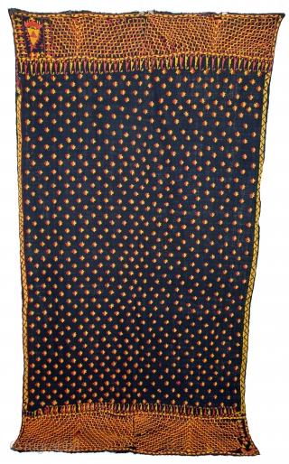 Indigo Phulkari From East(Punjab)India Called As Khanjar Buti Phulkari.C.1900.Rare Design of Khanjar.Floss Silk on Hand Spun Cotton khaddar Cloth.(DSL03680).