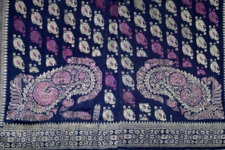 Rare Baluchar Sari with Kalka Buti woven in silk Brocade From Murshidabad,West Bengal,India.19th century.Each corner of Paisley Design.(DSL02940).