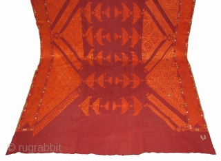 Chope Phulkari Cotton Embroidered with Floss Silk,Double running-stitch From East(Punjab)India.C.1930.Woman Headcover(Chope).Its size is W-166cm x L-335cm.(DSL03030).
