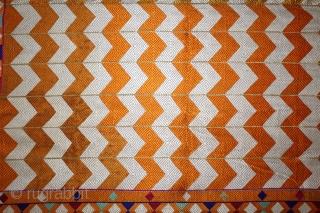 Phulkari From West(Pakistan)Punjab India Called As Laheriya(Wave) Design. Floss Silk on Hand Spun Cotton khaddar Cloth.(DSL03750).