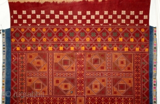 Shekhawati Bishnoi Wedding Shawl From Rajasthan India.C.1900.Very rare and interesting as the embroiderer imitated tie and dye(Bandhni).Embroidered by the Bishnoi community of Rajasthan. Embroidered on Hand Spun Cotton khaddar Cloth.Its size is  ...