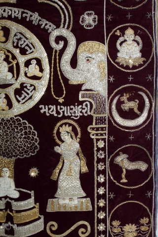 Jain Temple hanging From Gujarat,India.Circa.1900.Real Silver and Gold Zari work.Its Jain Ashatmangal and 14 Sapanas(Dreams) both side.Date is Mention on the bottom.Its size is W-79cm X L-132cm.(DSL03150).