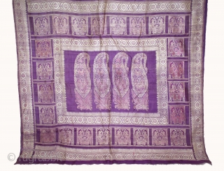 Baluchar Sari woven in silk Brocade From Murshidabad,West Bengal,India.Circa 1900.Here the pallu of the sari is decorated with large paisleys set within a border of human figures.Its size is 112cm x 362cm.(DSL03820).