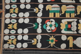 Naga Man's Shawl from Manipur region India. Manipur for use by Eastern Angami Nagas,C.1930.Cotton embroidered with floss silk. Its size is 117cm x 184cm.(DSL03830).