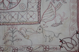 Kantha Quilted Embroidery with cotton thread Kantha Probably Jessore District,East Bengal(Bangladesh)region.India.C.1900.Its size is 85cm x 104cm.(DSL03850).