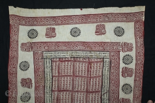 RamaVali Shawl From Dwarka region of Saurashtra Gujrat India.C.1900.Hand Woven Cotton Mull-Mull.(DSL03200).