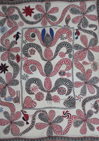 Kantha Quilted Embroidery with cotton thread Kantha Probably From Faridpur District,East Bengal(Bangladesh)region.India.C.1900.Its size is 66cm x 85cm.(DSL03880).
