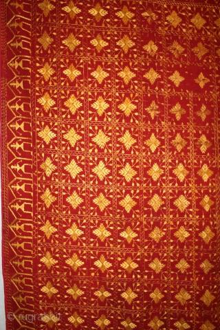 Vintage phulkari East India Punjab Called As Phulkari very Rare Influence of Jewellery Figure Dancing peacock Rare kind of Phulkari east Punjab(DSC00410)