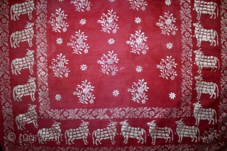 Pichwai For Gopashtami (Cow Festival) Rajasthan India.C.1900.Made form Silver Tinsel on Malmal Cotton.With Pillow cover.Its size is 77cm X 119cm.(DSL03270).