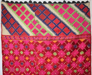 Swat Valley Vintage Phulkari from (Pakistan) very rare influence of Design with Beautiful Colour combination of Swat Valley Bagh. Perfect condition.(DSE00500)
