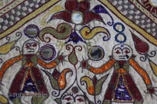 Ganesh-Sthapana Wall Hanging From Saurashtra Gujarat India.C.1900.The Folk Art of Gujarat.Its size is 45cm X 49cm.(DSL03400).