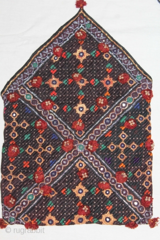Dowry Bujki Purse From Sind Pakistan India.Circa.1930.Embroidered purse for storing or carrying bridal dowry gifts Cotton with silk embroidery,metal thread, tiny mirrors.Its size is 25cm x 38cm.(DSL04050).