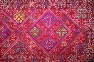 Embroidered Pillow-Cover Swat Valley From (Pakistan) India.Early 20th Century.Embroidered with Floss Silk on Hand Spun Cotton.Its size is 39cm X 92cm.(DSL03440).