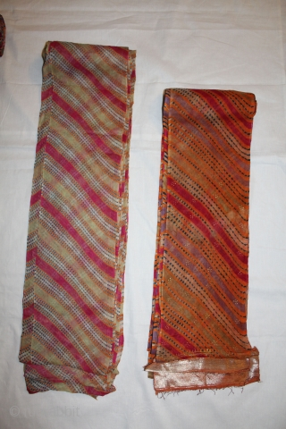 Tie and Dye Turbans Probably From Shekhwati Dist Rajashthan India Called As Panch Rangi Turban.Its Size is 15 X 18 Miter,Very Good Conditions.(DSC00430)