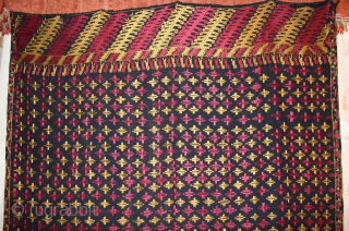Vintage Phulkari from East (India) Punjab Indai Called As Indigo Black Star Buti,Very Rare Design of Phulkari.Good Condition.(DSC00460)