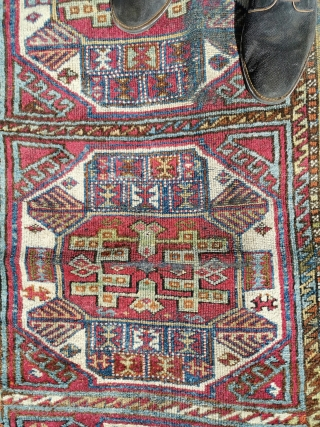 Late 19th century Yuruk rug, in need of restoration. Several areas of wear to the foundation, but good pile elsewhere and a gorgeous range of pastel colours 80in by 43in