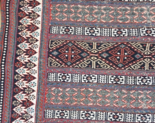 Antique and unusual Afshar soumak sofreh.