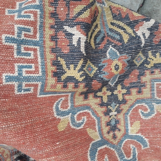 Pair of antique Gansu rugs,very low, but use-able.