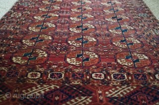 Antique Tekke Turkmen Wedding rug. 19th century. Wonderful plum red and interesting main border intermediary designs. Has three small patches and needs new selvedge. Good medium pile, to low in a couple  ...