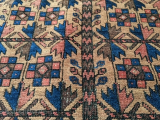 Wonderful 19th century Antique Baluch prayer rug. It's mostly medium pile with some colors which have corroded over the years. Soft wool. Rare with the rosettes on the main tree of life  ...