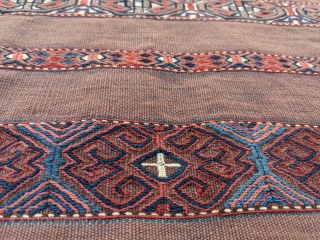 19th century Karadashli chuval in immaculate condition. No stains, wonderful colors in the striped bands. Lot's of Tekkes in this style but not Karadashlis.  2ft 8in x 3ft 9in  Cheers.