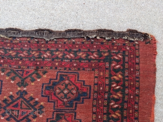 Monster size antique Ersari chuval. 5ft7in x 3ft7in. It has great dark green, blue, yellow, and two shades of red. Low pile all over, no holes, and original goat hair braided loops  ...