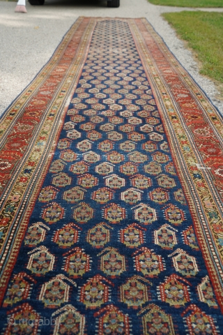 Antique Kurdish or Caucasian runner with boteh pattern. Such great colors and dyes! This is a beauty.